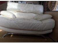 White leather chair seat