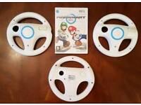 Mario Kart Wii Game + 3 Steering wheels Nintendo