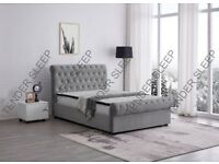 🌷💚🌷CASH ON COLLECTION🌷💚🌷 NEW DOUBLE OR KING SLEIGH STORAGE DESIGNER BED FRAME WITH MATTRESS