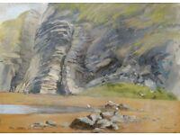 Original Watercolour - Cliffs at Tresaith by Eddie Goodrich