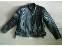 Mens motorbiker leather jacket and dungaree