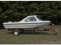 14 foot 'MARINA' GRP fishing/speed/leisure boat with road trailer.