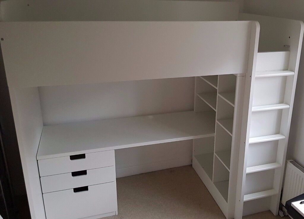 Ikea STUVA Loft Bed Frame With Desk, Drawers And Under Bed Storage White