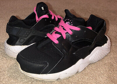 Nike Huarache Black Pink Athletic Running Shoes 704951 007 Youth Girls Size 1Y