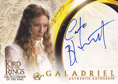 LORD OF RINGS FELLOWSHIP OF RING FOTR CATE BLANCHETT AS GALADRIEL AUTOGRAPH CARD