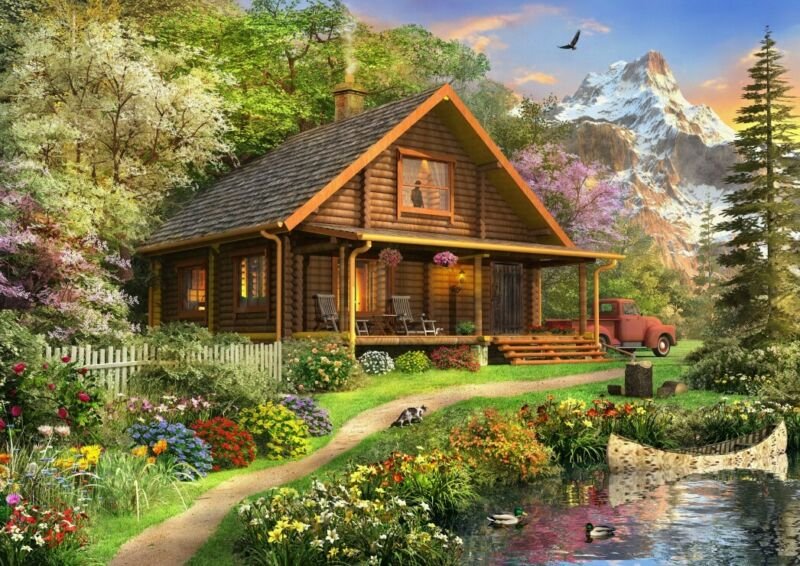 Puzzle Bluebird Puzzle 500 Teile - A Log Cabin Somewhere in North... (64670)
