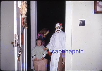 Spooky Halloween Costume Kids At Door Skull Mask Trick or Treat 1968 Slide Photo