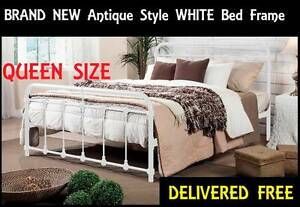 NEW Queen Size Bed Frame ANTIQUE STYLE White Bed DELIVERED FREE New Farm Brisbane North East Preview