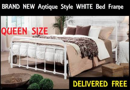 NEW Queen Size Bed Frame ANTIQUE STYLE White Bed DELIVERED FREE