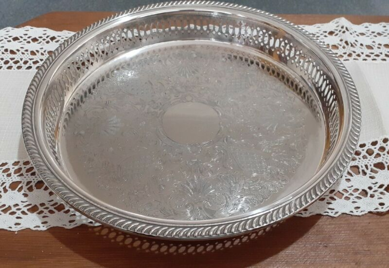 """10"""" Round Silver Plated Vintage Chased Gallery Tray Piecrust Rim Pierce Sides"""