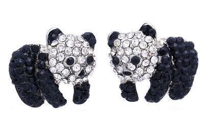 Cute Black White Panda Bear Stud Post Earrings for Animal Lovers Teens Women Kid