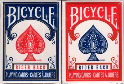 Mini Bicycle Rider Back Playing Cards 2 Deck Set Blue & Red USPCC Great 4 (Mini Bicycle Cards)