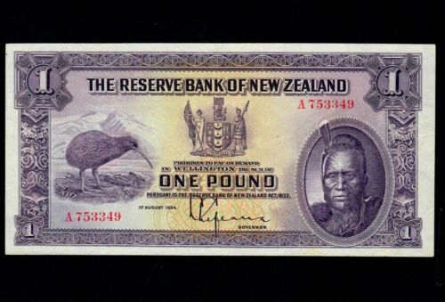 New Zealand 1 Dollar 1934  P-155 * Maori Chief *  EF