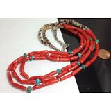 "tri-strands pen shell heishi/coral/turquoise nugget necklace//22.5"" (w174d-w2)"