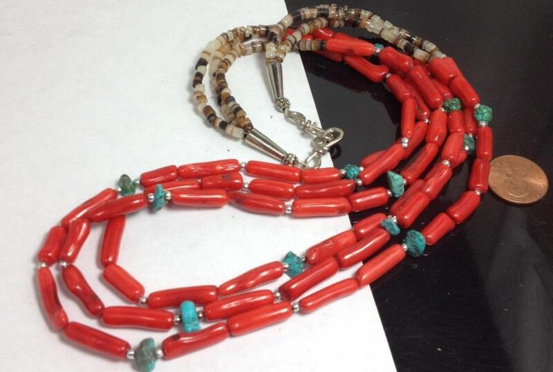 """tri-strands pen shell heishi/coral/turquoise nugget necklace//20.5"""" (w174d-w2)"""