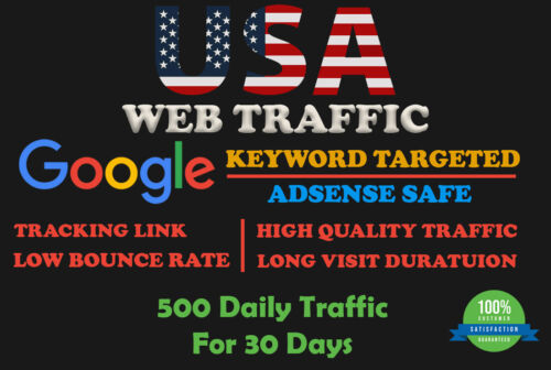 USA Web Traffic - Google Keyword Targeted, Lowest Bounce Rate