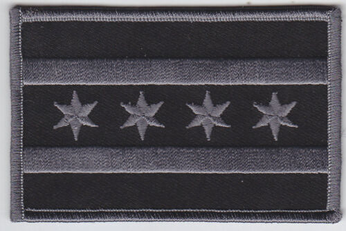 Chicago Flag Illinois police Patch SUBDUED BLACK/GREY, Chicago Flag Patches