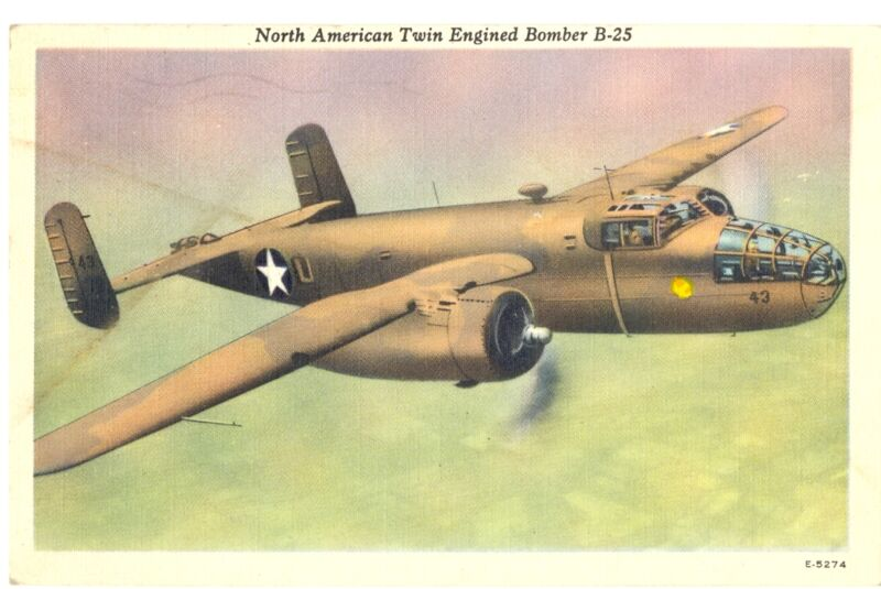 North American Twin Engined Bomber B-25 Postcard 1944