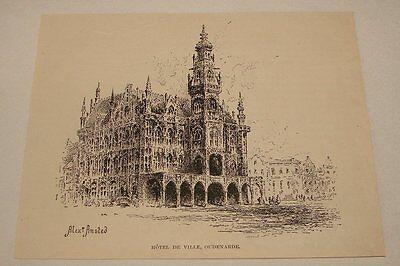 1895 magazine engraving ~ HOTEL DE VILLE, OUDENARDE, Belgium