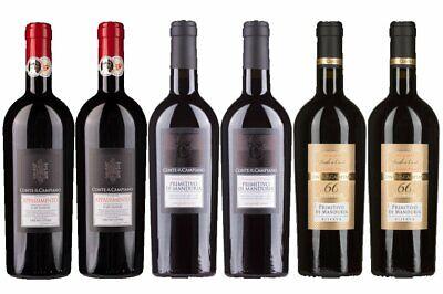6er Wein Probierpaket Conte di Campiano best. aus 3 Sorten trockener Rotweine