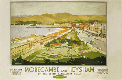 Vintage Rail travel railway poster  A4 RE PRINT Morecambe and Heysham
