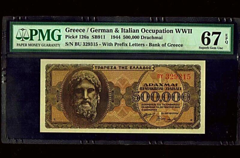Greece WWII   1944   500,000 Drachmai   Superb Gem UNC