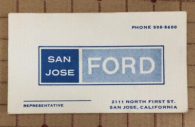 Vintage SAN JOSE FORD SALES Business Card SAN JOSE, CA C1960
