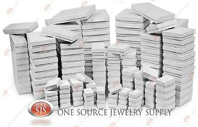 Glossy White Cotton Filled Gift Boxes Jewelry Gloss Box Lots of 12~25~50~100