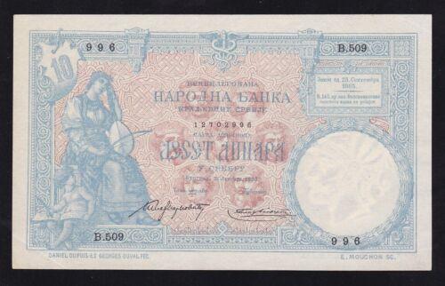 KINGDOM SERBIA ------ 10  DINARA  1893 ----- XF+ -------