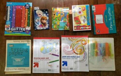 Lot Of 9 Childrens Notebooks/Construction/Glitter Paper/Drawing Paper