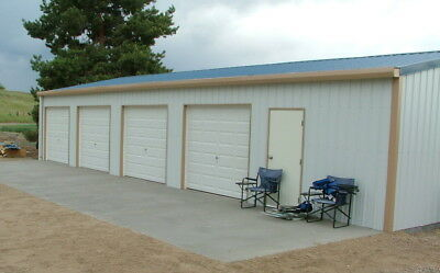 """Steel, Metal,  4-Car Garage with Shop, Building Kit"""