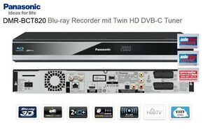Panasonic DMR-BCT820 NEU Blu-ray Recorder Twin HD Kabel-Tuner Twin 1 TB HDD
