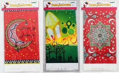 Ramadan Eid Mubarak Decorative Disposable Plastic Table Cover, Choose Your - Plastic Table Covering