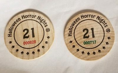 Halloween Horror Nights Wooden Game Coins RARE Promo NEW Universal Studios 21