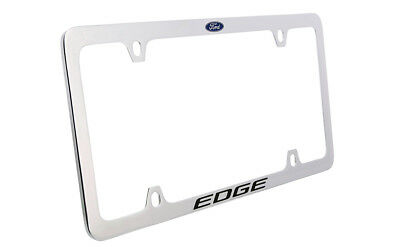 Ford Edge with Logo Chrome Plated Brass Metal License Plate Frame 4 Hole