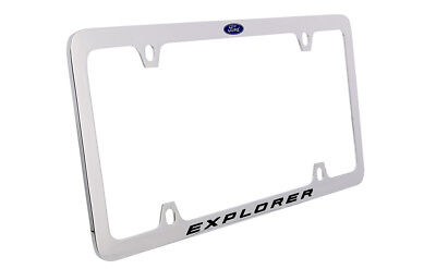 Ford Explorer with Logo Chrome Plated Brass Metal License Plate Frame 4 Hole