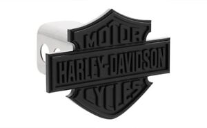 Harley-Davidson Matte Black Bar & Shield Trailer Tow Hitch Cover Plug Cap 2 Post