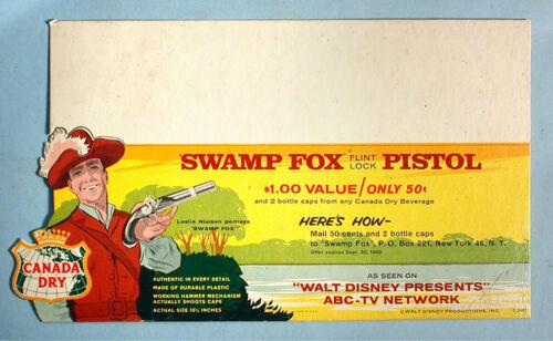 1960 Swamp Fox Disney Toy Flintlock Pistol Store Sign Canada Dry Mail Premium