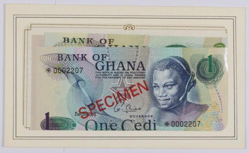 Set of 4 Bank of Ghana 1, 2, 5, 10 Cedis Specimen Notes