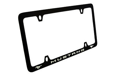 Ford Mustang with 2 Logos Black Coated Zinc Metal License Plate Frame 4 Hole