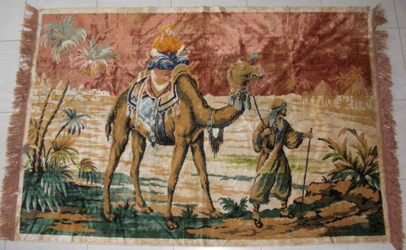 """Vintage Velour Tapestry Rug Camel & Man, Pyramids  Wall Hanging 71""""x48"""""""