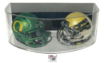 Double Football Display Case - Curved ACRYLIC WALL MOUNT FOOTBALL Double Mini Helmet DISPLAY CASE GameDay