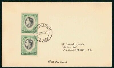 MayfairStamps South West Africa 1937 Pair Coronation Royalty First Day Cover wwo