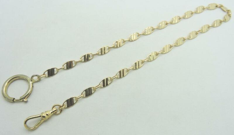 """14K Solid Yellow Gold Fancy link Pocket Watch chain fob 14"""" inch 14 Grams"""