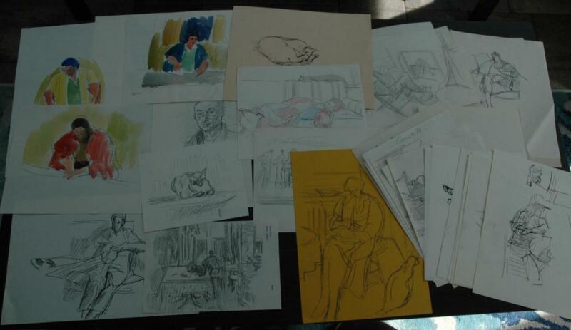 Lot of 50 plus drawings, sketches & Watercolors by Delaware Artist Saul Hanig