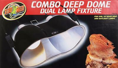 Zoo Med Combo Deep Dome Dual Day/Night Heat Lamp Fixture, (Zoo Med Deep Dome Lamp Fixture Black)