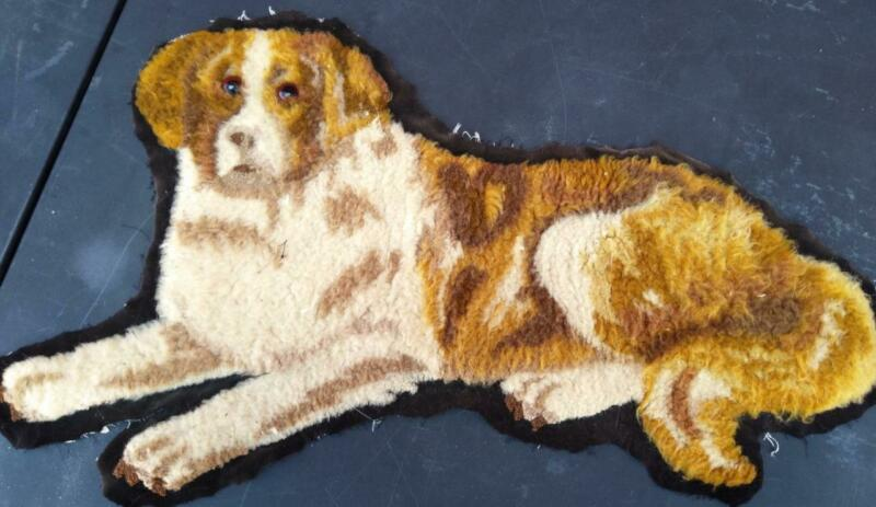 Antique Old Fabric Dog Cloth for Pillow or Footstool Top English Shepherd