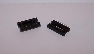 5 Pcs Amphenol 16 Pin Dip Gold Lead Ic Socket - New