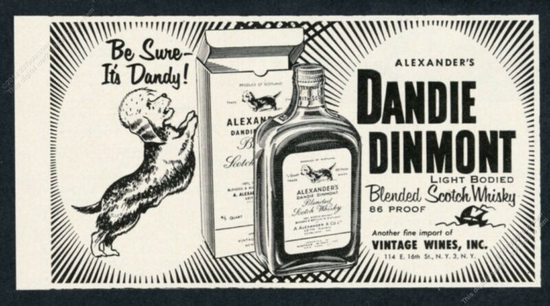 1955 Dandie Dinmont terrier art DD Scotch Whisky vintage print ad