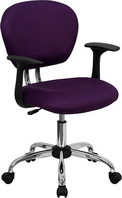 Mid Back Office Desk Chair With Arms Purple Mesh Upholstery With Chrome Accents